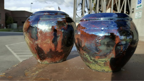 Two Raku pieces by Kujawa, fired at BHS